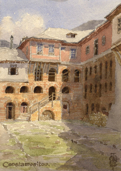 Sir Edgar Thomas Wigram, Konstamonitou Monastery Greece -Early C20th watercolour