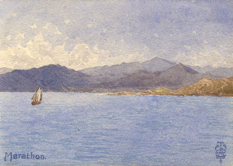Sir Edgar Thomas Wigram, Bay of Marathon Greece-Early C20th watercolour painting