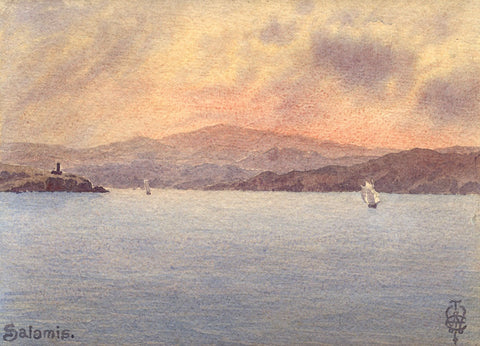 Sir Edgar Thomas Wigram, Bay of Salamis Greece -Early C20th watercolour painting