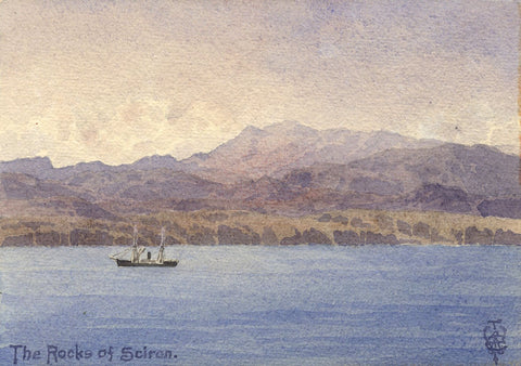 Sir Edgar Thomas Wigram, Scironian Rocks Greece-Early C20th watercolour painting