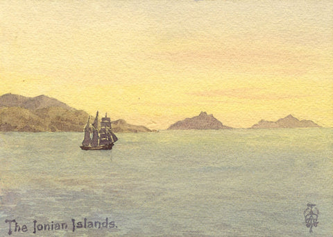 Sir Edgar Thomas Wigram, Ionian Islands Greece -Early C20th watercolour painting
