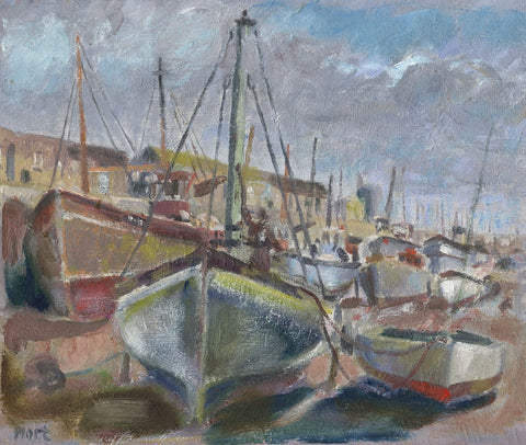 Marjorie Mort, Boats, Newlyn Harbour, Cornwall - Original 1949 oil painting