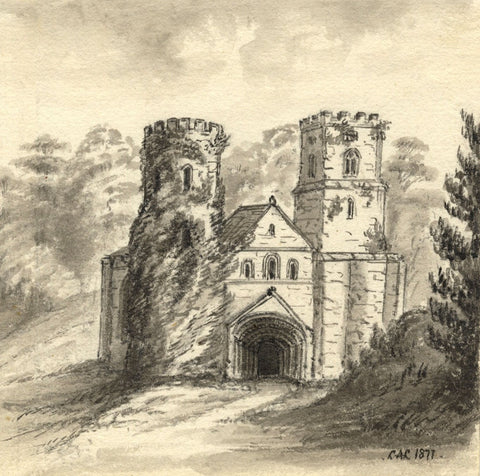 C.A. Collis, St Germans Priory Church, Cornwall - 1877 watercolour painting