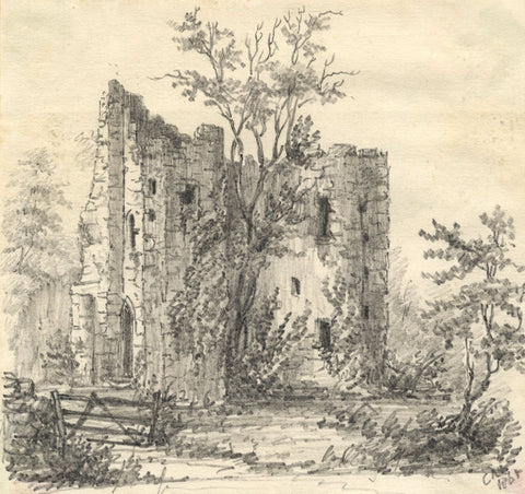 C.A. Collis, Gidleigh Castle, Chagford, Devon - Original 1868 graphite drawing