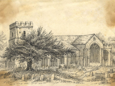 C.A. Collis, St Petroc Church, South Brent, Cornwall - 1865 graphite drawing