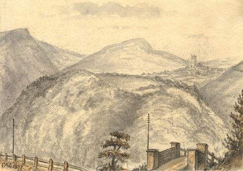 C.A. Collis, Shaugh Prior from Bickleigh, Dartmoor - 1877 watercolour painting