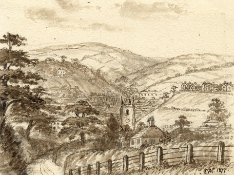 C.A. Collis, Tavistock from Whitchurch Down - Original 1877 watercolour painting