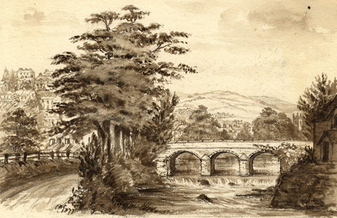C.A. Collis, Abbey Bridge, Tavistock - Original 1877 watercolour painting