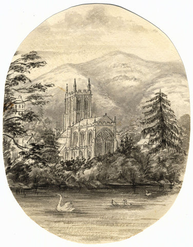 C.A. Collis, Great Malvern Priory Church - Original c.1877 watercolour painting