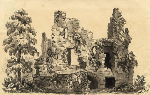 C.A. Collis, Berry Pomeroy Castle, Totnes, Devon - c.1877 watercolour painting