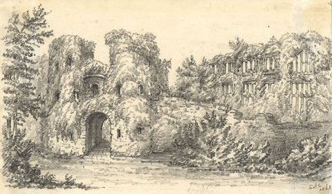 C.A. Collis, Berry Pomeroy Castle, Totnes Devon - Original 1863 graphite drawing