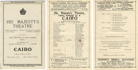 His Majesty's Theatre Programme for 'Cairo' by Oscar Asche / Percy Fletcher 1921