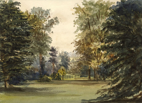 M. Conway, Garden at Duffield Hall, Derby - Original 1876 watercolour painting