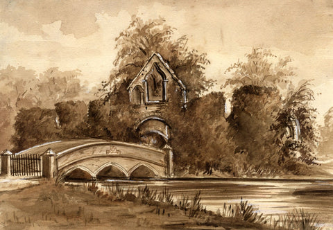 M. Conway, Monks Bridge, Bayham Abbey in Sepia - 1880 watercolour painting