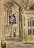 M. Conway, Interior, Christchurch Priory, Hampshire - 1870s watercolour painting