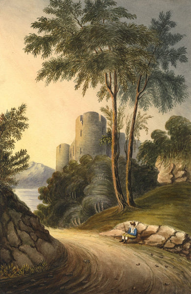 Picturesque View with Resting Traveller -Early 19th-century watercolour painting