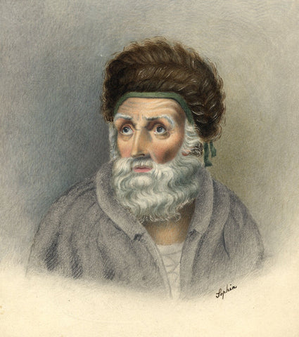 Bearded Man with Woven Hat Portrait - early 19th-century watercolour painting