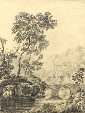 G.M., Italianate Landscape - Original early 19th-century graphite drawing