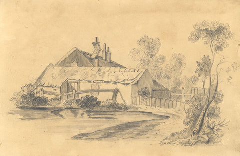 House with Crooked Chimney - Original early 19th-century graphite drawing