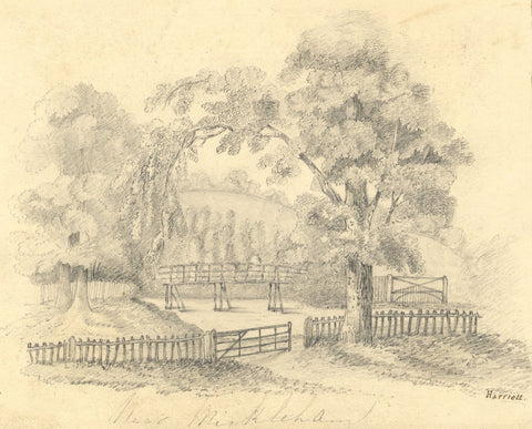 Wooden Bridge, River Mole, Mickleham Surrey -Early 19th-century graphite drawing