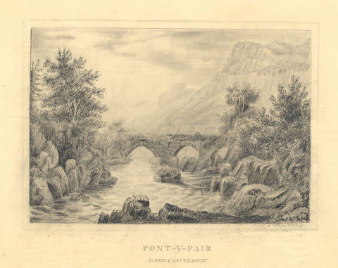 Bridge at Pont-y-Pair, Betws-y-coed, Wales - Early 19th-century graphite drawing