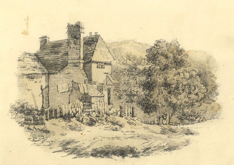 S.A., Rural Cottage with Figure - Original early 19th-century graphite drawing
