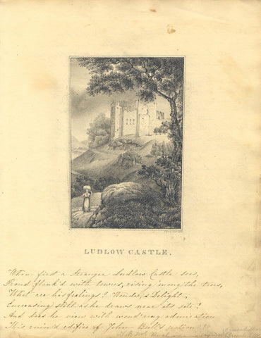 C. Greenhill, Ludlow Castle - Original 1835 graphite drawing