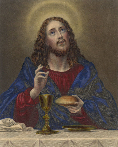 Christ Blessing the Bread after Carlo Dolci - Early 19th-century mezzotint print