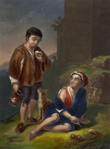 Spanish Peasant Boys - Original early 19th-century mezzotint print