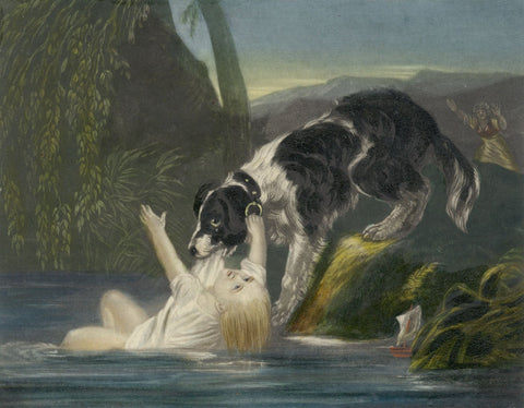 Newfoundland Dog Rescuing Child from Drowning - Mid-19th-century mezzotint print