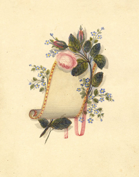 Bookplate Scroll with Flowers - Original mid-19th-century watercolour painting