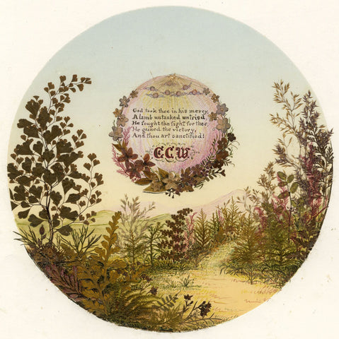 Victorian 19th-century Pressed Leaf Painting - Landscape Scene with Verse