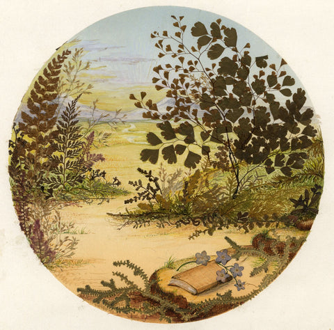 Victorian 19th-century Pressed Leaf Painting - Scene with Book & Forget-me-not