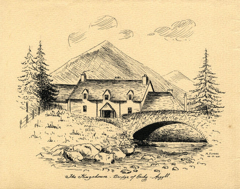 Allan Furniss, The Kingshouse, Bridge of Orchy, Argyll - 1940 pen & ink drawing