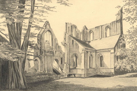 Allan Furniss, Dryburgh Abbey, Scotland - Original 1946 graphite drawing
