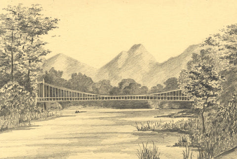 Allan Furniss, Dryburgh Suspension Bridge, Tweed Scotland -1946 graphite drawing