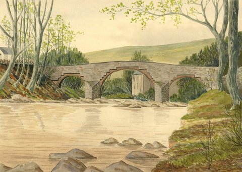 Allan Furniss, Skipper's Bridge, River Esk, Langholm -1940s watercolour painting