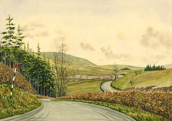 Allan Furniss, Newcastleton Village, Scotland - 1944 watercolour painting