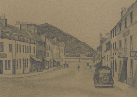 Allan Furniss, Main Street & Duniquaich, Inveraray - 1940s graphite drawing