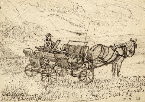 George Corson, Thomas Sutcliffe Sketching on Otley Chevin - 1868 ink drawing
