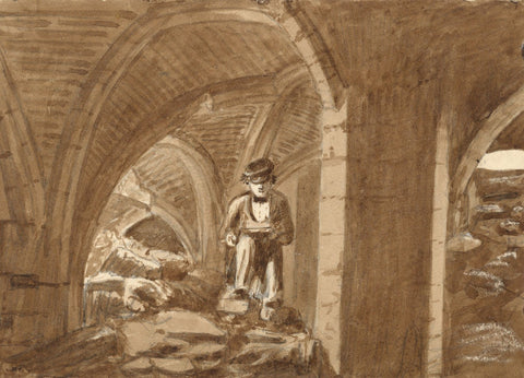 George Corson, Thomas Sutcliffe Sketching, Howley Hall 1855 watercolour painting