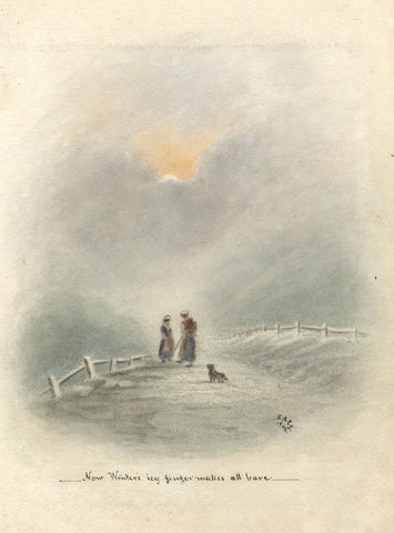Sarah A.E. Shrubsole, Winter Path with Figures & Dog - 1902 watercolour painting
