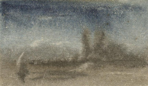 Thomas Sutcliffe, Miniature Landscape with Sailboat -19th-century watercolour