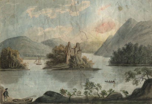 Alexander Reid of Kirkennan, Lake with Ruin - c.1797 watercolour painting