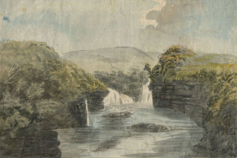 Alexander Reid of Kirkennan, Waterfall Landscape - c.1797 watercolour painting