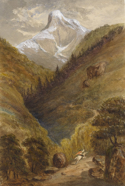 H.A.L., Pic de Ger, Pyrenees with Figure on Horseback -1859 watercolour painting