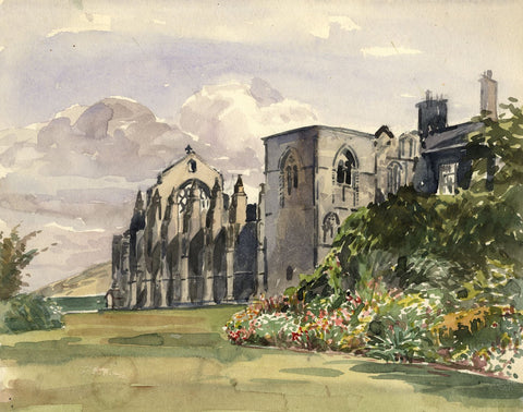 Holyrood Abbey, Edinburgh - Original early 20th-century watercolour painting