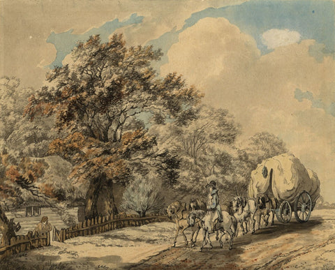 Circle of Peter La Cave, Traveller with Horses & Wagon -19th-century watercolour