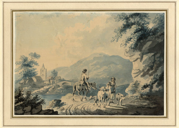 Circle of Peter La Cave,Rural Scene with Figures & Cows,19th-century watercolour
