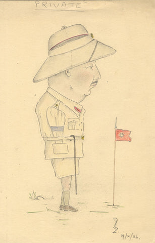 Robert Lyon FRSA, WWII Military Private Caricature, China -1946 graphite drawing